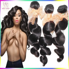 BEST Raw Virgin Hair Store 10A Spiral Curls Brazilian Loose Wave Virgin Wavy Hair 3 Bundles machine Strong Wefs