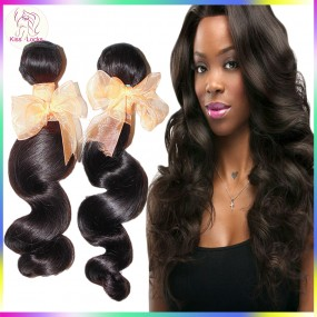 10A KissLocks Natural Brazilian Virgin Spiral Loose wave Wefts 2 bundles human hair Big waves Fast Shipping