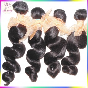 Focus on Raw Virgin Hair 4pcs/lot Women Extensions 10A Brazilian Loose Wave Spiral Curls More Wavy Silky&Soft