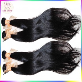 KissLocks RAW Hair Products 10A Brazilian Virgin Straight Hair 4pcs/lot Premium Silky Human Hair Extension,No Acid Wash