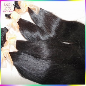 KissLocks RAW Hair Products 2 bundles Brazilian Silky Straight Virgin Hair Weaves Excellent Quality Grade 10A