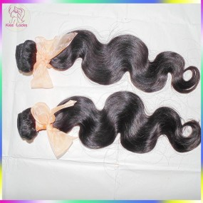 10A New Brand KissLocks Natural Brazilian Virgin Body Wave Wefts 2 bundles human hair Big waves Fast Shipping