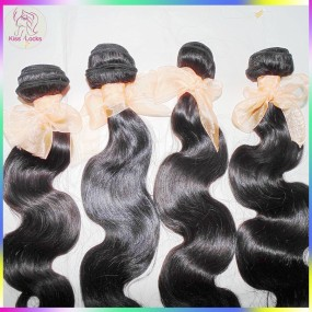 Unprocessed 10A Virgin Body Wave Brazilian Human Hair 4 bundles Deal Beauty Plus Wet Kiss Locks Dyeable