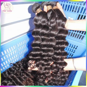 Top of Line Flawless Virgin Cambodian Loose Deep Wave Hair Weaves 4 Bundles Deal No Fillers Medium Luster Rock Your Beauty