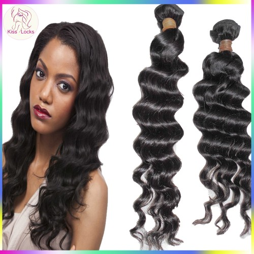 KissLocks RAW Hair Romantic Easy Curls Loose Virgin Cambodian Human Hair Weave 2 Bundles Deal Next 2 day shipping