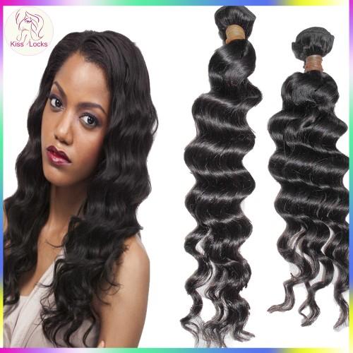 KissLocks RAW Hair Romantic Easy Curls Loose Virgin Cambodian Human Hair Weave 2 Bundles Deal Next 2 day shipping