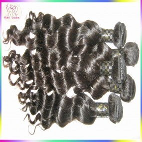 Quick shipping KissLocks RAW hair Filipino virgin loose curly DEEP body wavy hair extensions 3pcs/lot Grade 10A