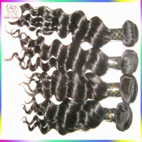 10A KissLocks RAW Filipino Virgin Hair loose curls Deep Wave 4 bundles/lot DHL Across Sates Delivery Darkest Brown