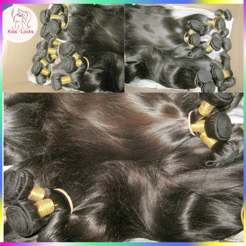 4 Bundles Dyed Straight Brazilian Hair Dark Jet Black Weaves Colour