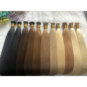Micro Head Beads Pre bonded I-tip Hair extensions Peruvian Human Hair Straight 100g/lot Many Different Colors #1B,#2,#4 etc.