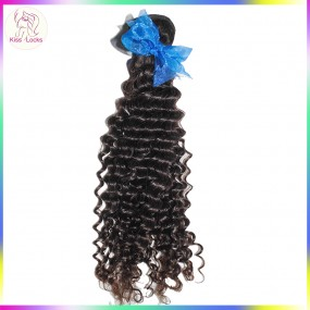 "10A Deep Regular Curls Weave 1piece Single bundle Indian Virgin Hair Extension Tight Small curls 12""-26"" Temple Weft"