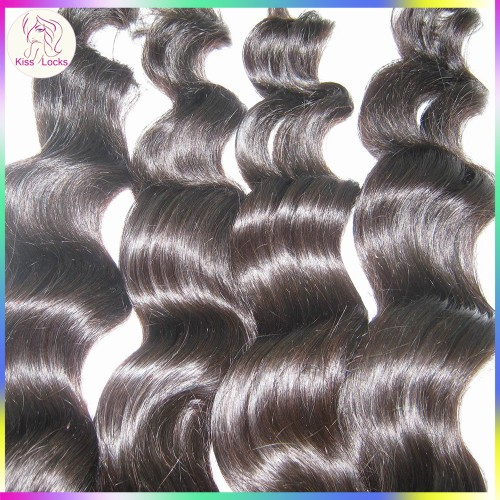 4 bundles Fashion Beauty 10A Indian virgin Loose Wave Wavy hair 100% Unprocessed Thinner wefts Tangle free,Long lasting!