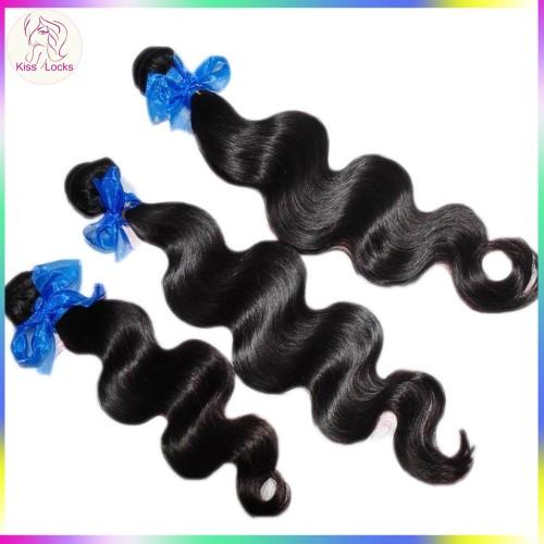Kiss Locks Products Raw 10A Virgin Wavy Indian Human Hair Weaves 4pcs/lot no tangle Durable Thick Strands
