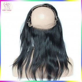 Laotian straight hair 360 lace frontal mediul brown free part 100% human hair Raw hair 135% density
