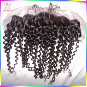 Beautiful Curly Hair Lace frontal 13x4 Ear to Ear Natural Color Raw virgin hair Matching Brazilian,Peruvian,Indian,Malaysian Texture ship in 7  days