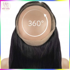 Indian&Malaysian Straight Hair Lace Frontal virgin raw hair closure Pre Plucked 360 Frontal with Baby Hair Adjustable Strip