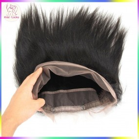 Brazilian,Peruvian Straight virgin Hair Free Part 22.5x4x2 Inch Natural Black 360 Full Lace Frontal Free Shipping