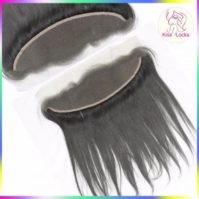 Hot Selling Kiss Locs Brazilian Virgin Straight Lace frontal 13 by 4 ear to ear brown/Transparent laces
