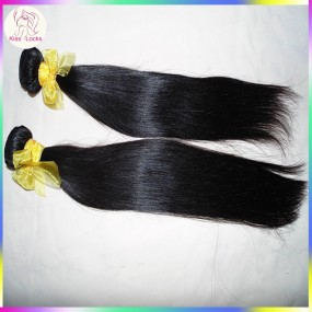 2PCS/ lot Clearance Promotion 10A Grade Raw virgin remy straight wefts 100%  Laos hair Color #1B Natural Color