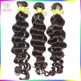 Unprocessed Raw Laotian Virgin Deep Wavy Loose Curly Virgin Hair Wefts 3 bundles Weave Grade 10A RAW Beauty