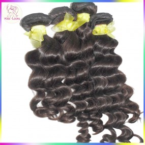 "New Arrival 10A Virgin Laotian Loose Curly More wavy 3pcs/lot(12""-28"" inches) RAW Asian Collection Sexy Girl Beauty Products"