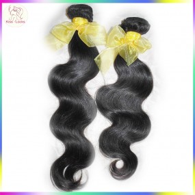 KissLocks Factory Sale Grade 10A Raw human hairs 2 bundles Deal Laotian Body Wave Virgin Weaves No Corn-chip smell L