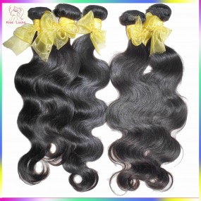 "Verified Alibaba 100% Human Hair Raw Virgin Laotian Body Wave Weave 4pcs/lot (12""-28"") KissLocks Unique Hair Exporter"