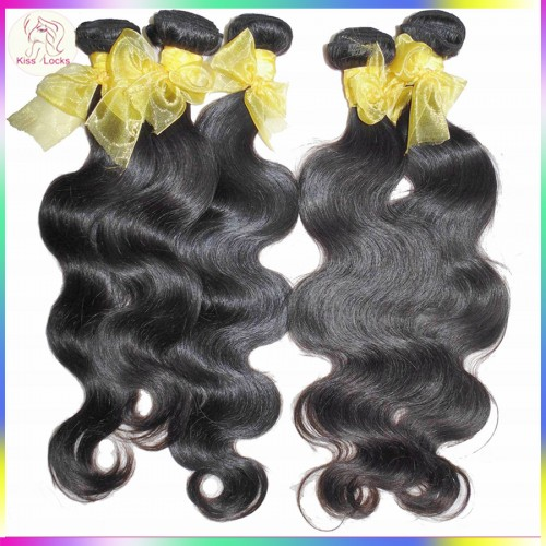 100% Natural Raw Asian Laos Virgin Body Wave Hair Weave 400g/lot Thick Strands Can be bleached,Dark Lusters