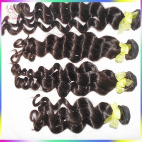 2019 Newest Style Raw virgin Laotian Virgin Hair Wefts 4 bundles Loose Curly Weave Wavy Hairstyle Wet Kiss 10A