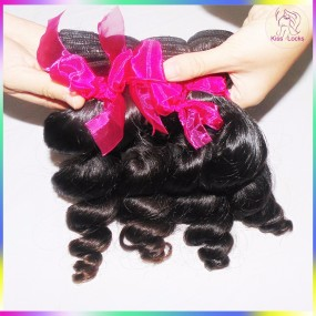300g/lot Three Bundles Raw Mink Virgin Loose Wavy Malaysian Human Hair Extension Can do color #613 Promotion Sale 10A