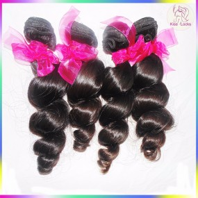 Inspiring Queen Style Raw Virgin Loose Waves Mink Malaysian Hair Weave Bundles Double Wefts Thick Ends No Silicon Process
