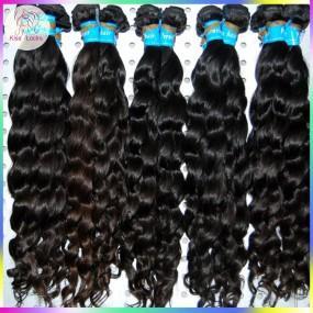 New Fashion 10A Peruvian Virgin Unprocessed loose curly(more Wavy) Hair Weave 3pcs/lot Natural Wave KissLocks Hair
