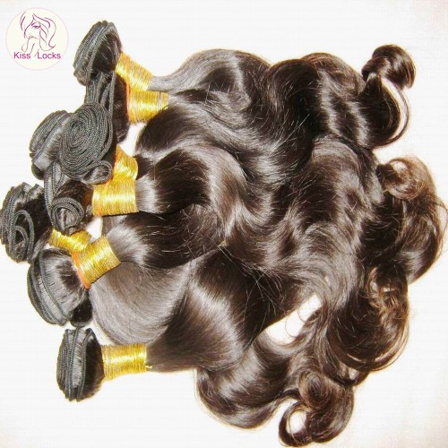 100% Peruvian virgin Hair 1 bundle 100g More Wavy Weaving Smooth Body Wave KISS LOCKS Five Star Supplier 10A