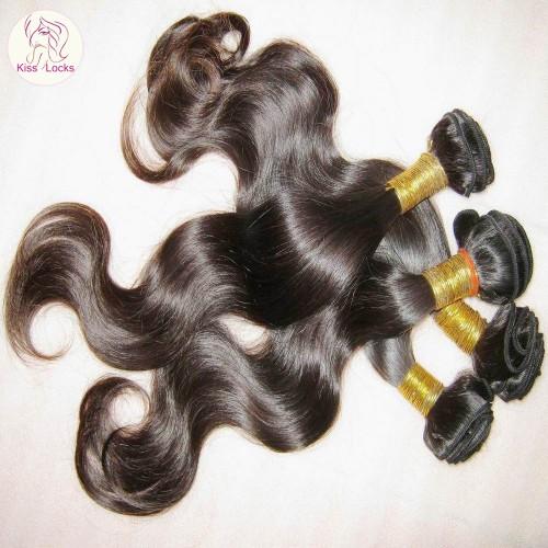 100% Peruvian virgin Hair 1 bundle 100g More Wavy Weaving Smooth Body Wave KISS LOCKS Five Star Supplier 10A