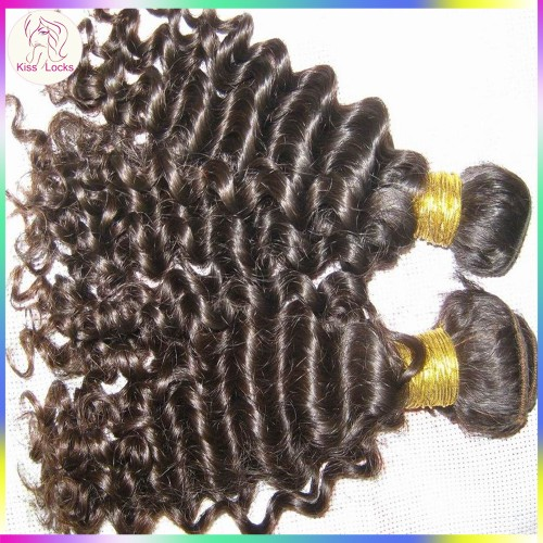 Perfect hair extension American Fashion 10A Peruvian deep wave curly hair 1 bundle sample piece natural color(95-100g) KissLocks