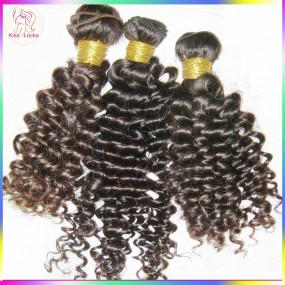 KissLocks Raw hair 3 bundles Wefts Peruvian DEEP virgin curly hair No matting no tangles free shipping