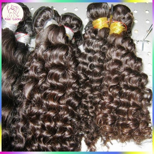 4 pcs/lot Natural Brown & Black Color Virgin Peruvian Deep curly hair machine weft(double stitched),best RAW hair vendor!