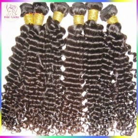 BLACK FRIDA  4 pcs/lot Natural Brown & Black Color Virgin Peruvian Deep curly hair machine weft(double stitched),best RAW hair vendor!