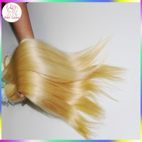 Top quality human hair Russian Silky Straight virgin hair blonde extensions #613 Light Color KissLocks Weave Star