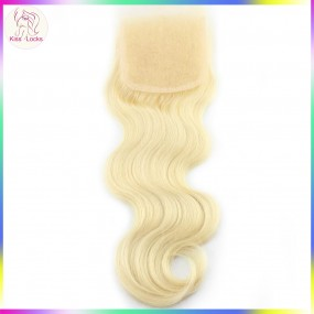 Russian Body Wave Natural Blonde #613 Lace Closure 4x4 Light blonde style European Fashion 1 piece
