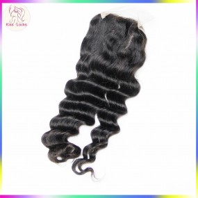 BLACK FRIDA Peruvian,Brazilian,Malaysian and Indian Matching closures Loose Deep wave More wavy Top lace closure 4x4 Grade 10A