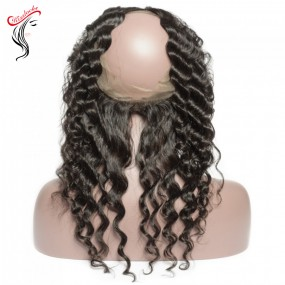 "Natural loose deep wave 360 lace Frontal with natural color loose Curly Raw Virgin Hair types Burmese,Cambodian,Filipino 10""-20"" inch"