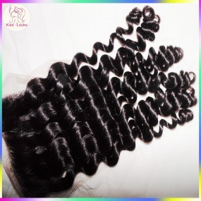 New Arrival Grade 10A Deep Curly Peruvian,Indian,Malaysian Human Hair types Lace Top Closure 4x4 regular sizes Medium Brown Lace