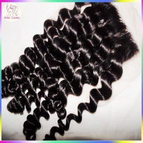 Great Curly Closure 10A Kiss Locks Raw Virgin Hair Lace Top Closures deep curls Matching Hair Types Burmese & Cambodian