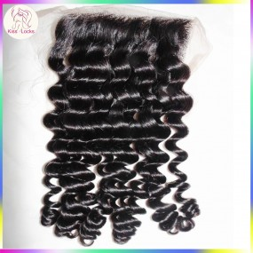 Hot Beauty Raw Natural Hair Lace closure 100% Unprocessed Human Curly Hair Close Up 1 pack/lot Laotian,Eurasdian Hair Origins