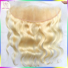 Great Quality Russian Blonde #613 Wavy Lace Frontal Clousre 13x4 Ear to Ear Fast Delivery