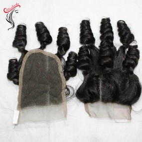 West African Bouncy Curls Funmi hair lace closure 1 piece/lot custom order 2-3 days shipping time(order in advance)