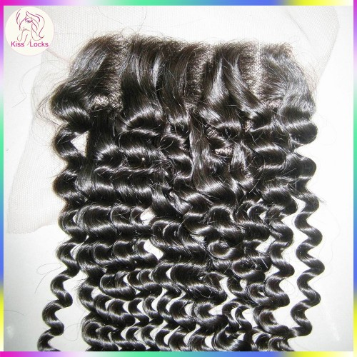 Mongolian Origin Jerry Curly Lace Closure Thick density  Free parting 4x4 Afro Kinky Curly Human Hairs 1 pack