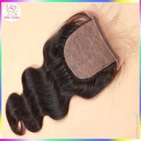 Brazilian Peruvian Malaysian Indian Raw virgin hair silk base free part body wave 1 pack/lot Medium Brown Lace Color Natural Hairline