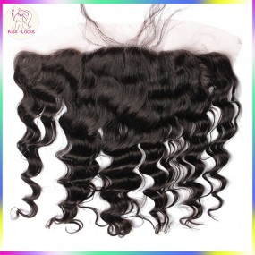 "10A Virgin Filipino Loose Deep Wavy Loose Wave Loose Curly ear to ear Lace frontal Closure 13x4 10""-20"" Avaiable ship in 7  days"